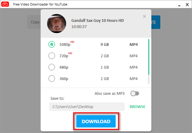 Download 10 hour Youtube videos